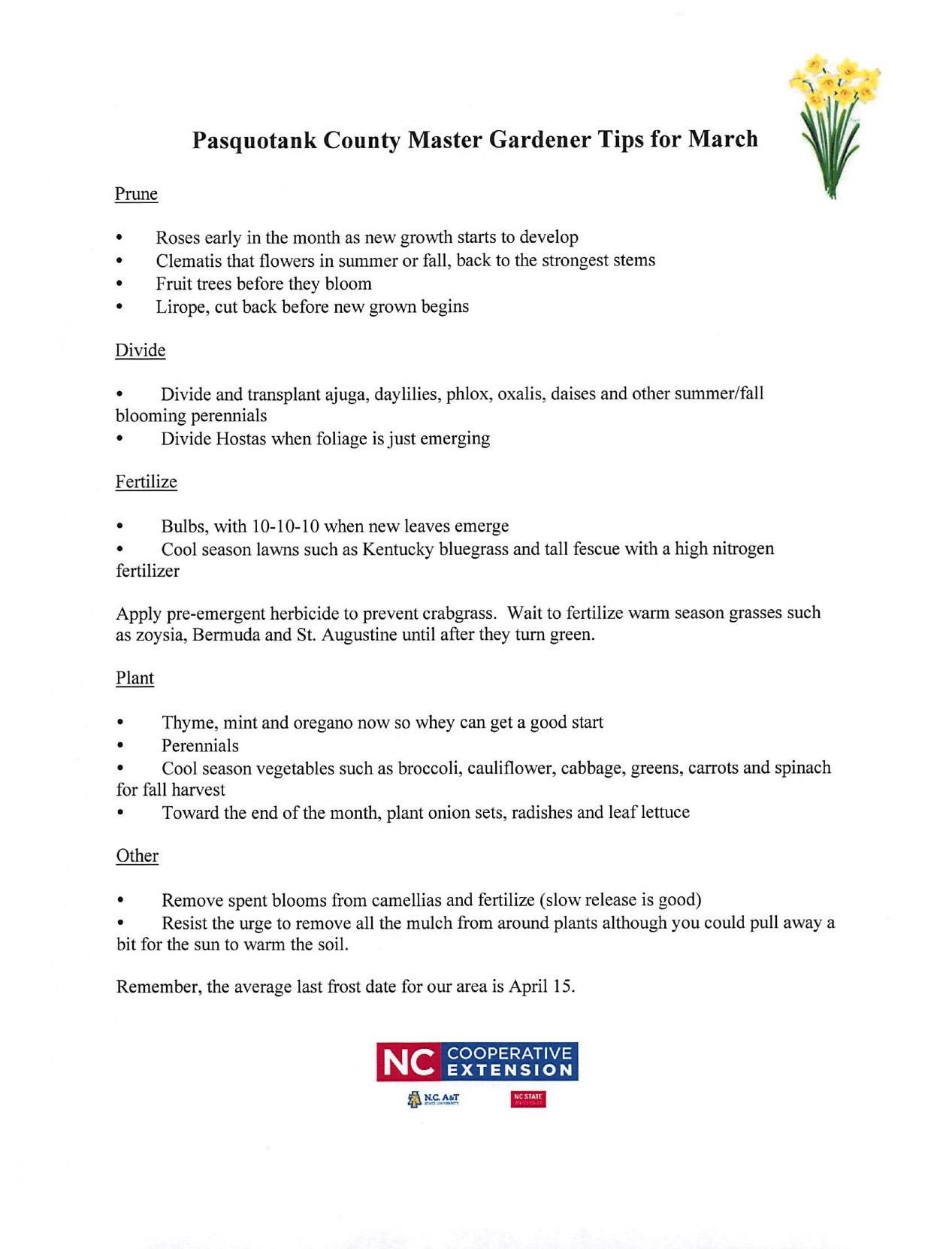 march gardening tips