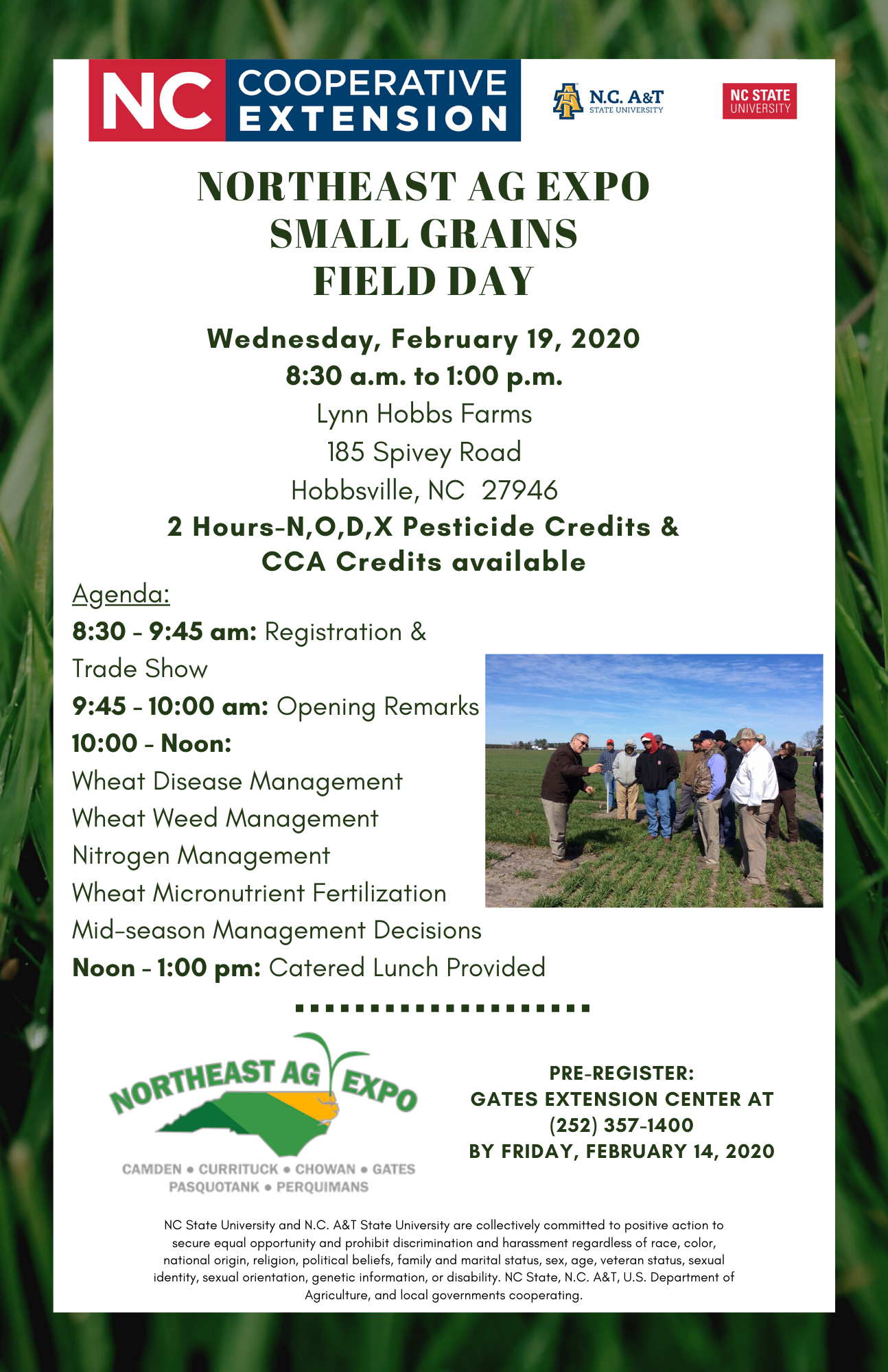 2020 NE Ag Expo Small Grains Field Day poster