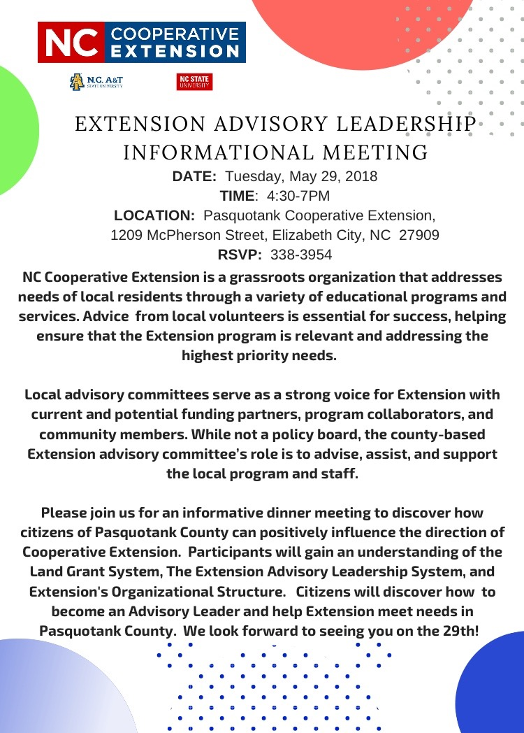Advisory Leadership Informational Meeting flyer